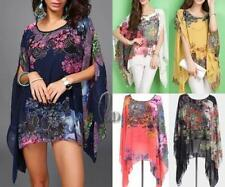 Plus Size Chiffon Floral Batwing, Dolman Sleeve Tops & Blouses for Women