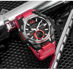 Men's Red & Black Digital Sports Watch