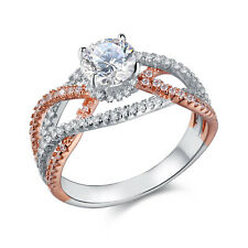 White Cz 925 Sterling Silver Size 9 Rose Gold Wedding Engagement Ring 2ct Round