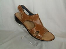 DR SCHOLL'S (ANNALEZA) TAN TOUCH CLOSURE PADDED FOOTBED SANDAL NEW IN BOX