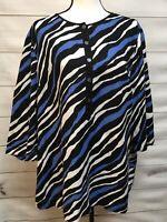 Jones New York Sport Womens Sz XL Shirt Black White Blue Zebra  Print Linen Top