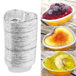 New 60 Pcs Heart Shaped Disposable Aluminum Foil Cups for Muffin Cupcake Bake