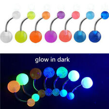Hot 7pcs Luminous Belly Button Navel Bar Rings Body Piercing Glow In The Dark