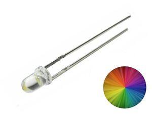 LEDs 3mm RGB Multi Color langsamer Lichtwechsel Rainbow Kirmes 100 Stück S578