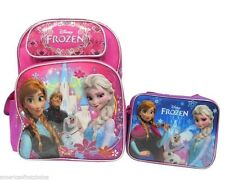 "DISNEY FROZEN KRISTOFF OLAF ELSA ANNA 16"" BACKPACK & LUNCH BAG LUNCH BOX SET-NEW"