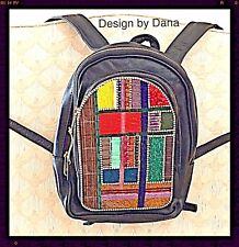 Multi-Color Vintage-Hand-Beaded-Frye-Leather Knapsack- Design by Dana