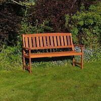 KINGFISHER 3 SEATER HARDWOOD GARDEN PATIO BENCH OUTDOOR DURABLE SEAT SUMMER NEW
