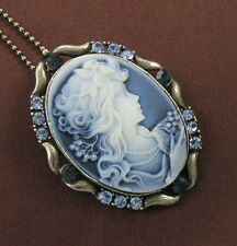 Blue Stone Design CAMEO Necklace Chain Pendant Antique Gold Tone Vintage Style b