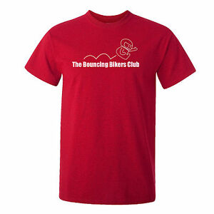 MOTORBIKE-THE BOUNCING BIKERS CLUB-CAFE RACER-BIKER-FUNNY-MOTORCYCLE-RED-T-SHIRT