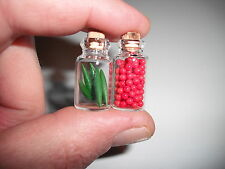 D00435  2 Miniature Storage Jars/OOAK,Doll Houses,Crafts,Barbie