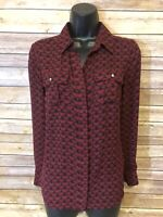 White House Black Market Long Sleeve Shirt Size 0 Womens Button Down Blouse Red
