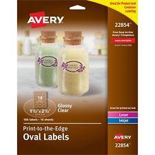 """Avery Labels Oval 10UP Laser/Inkjet 1-1/2""""x2-1/2"""" 180/PK Glossy CL 22854"""