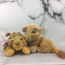 """Vintage The Lion King Simba And Nala Cubs 8"""" Plush Stuffed Animal Disney Store"""