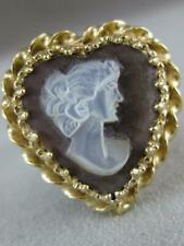 ANTIQUE 14K YELLOW GOLD HEART MOTHER OF PEARL CAMEO LADY FILIGREE RING #L1325.53
