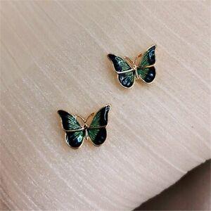 2021 Charm Enamel Green Buttefly Earrings Ear Stud Women Chic Jewelry Gifts New