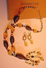 Lovely Coldwater Creek Brown & Yellow Necklace & Earrings-Mint In Original Box