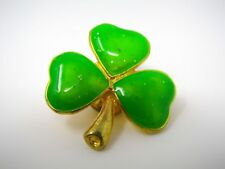 Vintage Collectible Pin: Green Shamrock Clover