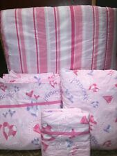 DYR Twin Size 4 Pc Reversible Comforter Bedding Set Princess Pink /Purple