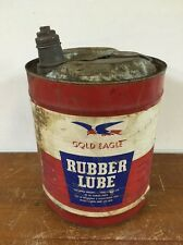 Vintage GOLD EAGLE Rubber Lube 5 Gal. Can 1966 Tire Repair Gas Station NON OIL