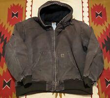 Men's Carhartt Distressed Brown Canvas Work Jacket Size 2XL