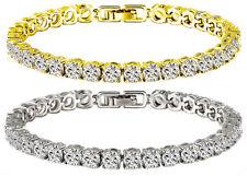 Tennis Bracelet White Yellow 18k Gold Plated 5 mm Diamonique CZ 16-20 ct 3 sz