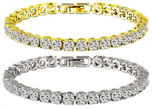 Tennis Bracelet White Yellow 18k Gold Plated 5mm Simulated Diamond 16-20 ct 3 s
