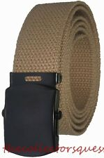 "NEW 1.5"" BLACK BUCKLE ADJUSTABLE 72"" INCH KHAKI CANVAS MILITARY GOLF WEB BELT"