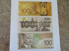 3 $100 Bank of Canada Paper Money Bill Notes 1988 2004 banknotes 24kt Gold Foil