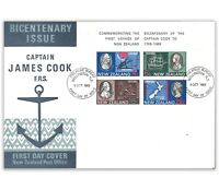1969 NEW ZEALAND JAMES COOK BICENTENARY VOYAGE MINI SHEET FIRST DAY COVER FDC