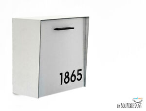 Modern Mailbox Silver Aluminum Face and Body with Black Acrylic numbers, Type 1