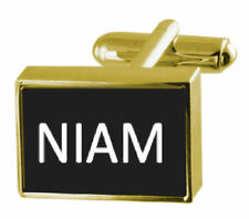 Engraved Box Gold-Tone Cufflinks Name - Niam