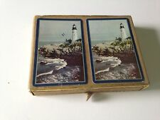 TWO DECKS OF VINTAGE CONGRESS CANASTA LIGHTHOUSE PLAYING CARDS