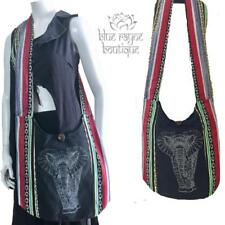 100% Cotton BoHo Hippie Extra Large Tribal Elephant Print Purse Hobo Bag - Black