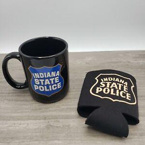 Indiana State Police Coffee Cup Mug  and Beer Koozie Sleeve Lot of 2 Trooper