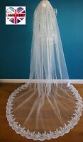 3 M wide Wedding Veil *Cathedral Length*1 Tier*Off white/Ivory*Wide Corded Lace*