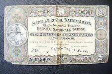 RARE & ANCIEN  BILLET  5 FRS  SUISSE   1951  TB .!!!