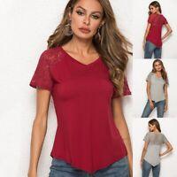 Trendy Women Short Sleeve Loose T Shirts Irregular Hem Casual Blouse Lace Tops