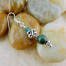 Irish Silver Celtic Knot Earring w/ Crysocolla & Swarovski Crystal beads