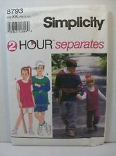 Simplicity Pattern 8793 Boys Girls Knit Pants Shorts Top Size KK 7,8,10,12 Uncut