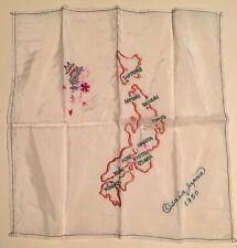Vintage Country Souvenir Handkerchief Hankie Osaka Japan 1950 Silk