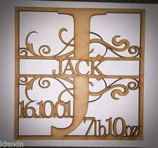 """Personalised Letter """"BIRTH SIGN"""" 3MM MDF blank craft Plaque/sign"""