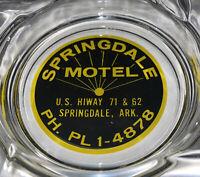 RARE Vintage Springdale Motel Arkansas Glass Ashtray Free Shipping Hotel Prop