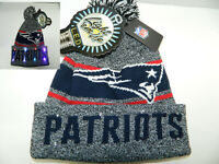 New England Patriots Winter Cap Hat cuffed Knit NFL LED Light Up Pom Beanie grey