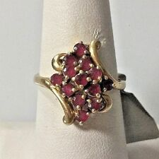 YELLOW GOLD 0.25 CT RUBY COCKTAIL RING SIZE 8