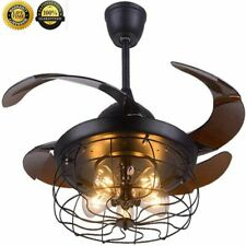 """42"""" Ceiling Fan with Light Industrial Retractable Blades Vintage Cage W/Remote"""