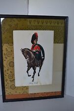 Vintage Print Military Black Watch Horse Solider Scotland BRITISH ARMY Framed
