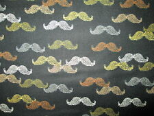 MUSTACHES MENS HIPSTER MUSTACHE BLACK COTTON FABRIC FQ