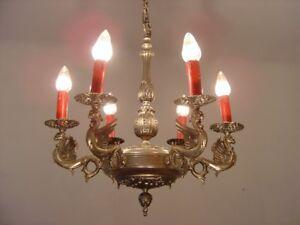 "DANGEROUS DRAGON NICKEL CHANDELIER SILVER RED CANDLE VINTAGE LAMP Ø 21"""