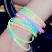 8PCS Luminous Sports English Letters Silicone Rubber Bracelet Wristband Unisex
