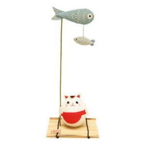 Japanese Cat Fishing Ornament Rayon Crepe Home Decoration Gift 00952